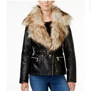 Guess Fur Collar Leather Jacket